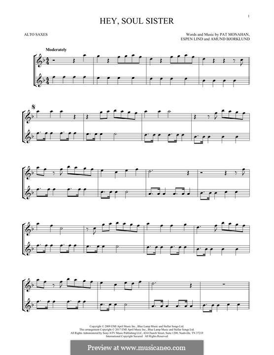 Hey, Soul Sister (Train): For two alto saxophones by Amund Bjorklund, Espen Lind, Patrick Monahan