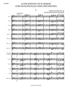 Concertino in D major for Violoncello and Orchestra, Op.46: Complete score by Franz Ignaz Danzi