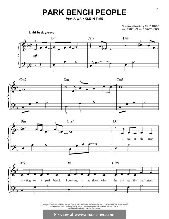 Park Bench People: For piano by Earthquake Brothers, Mike Troy
