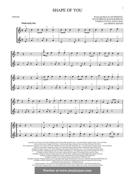 Shape of You: For two violins by Ed Sheeran, Steve Mac, John McDaid