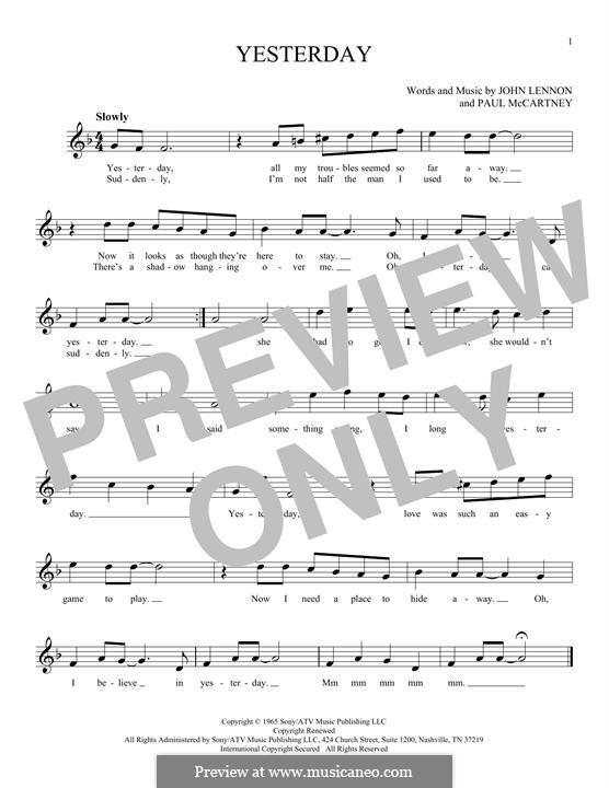 Yesterday (The Beatles): Melody line by John Lennon, Paul McCartney