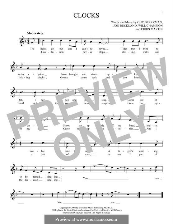 Clocks (Coldplay): Melody line by Chris Martin, Guy Berryman, Jonny Buckland, Will Champion