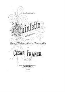 Piano Quintet in F Minor, M.7: Full score by César Franck