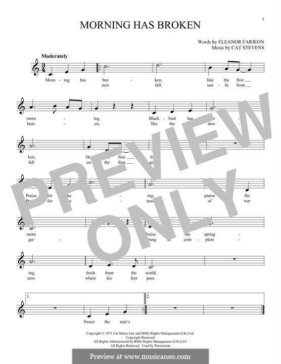 Morning Has Broken: Melody line by Cat Stevens
