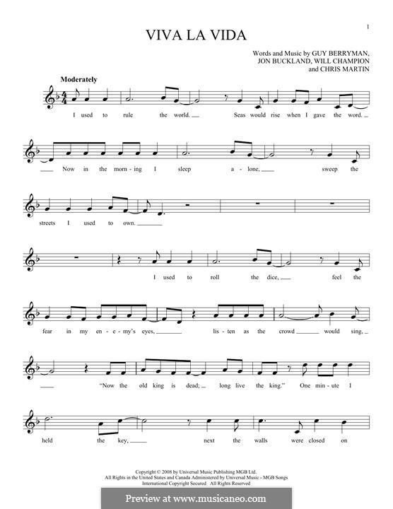 Piano-vocal score: Melody line by Chris Martin, Guy Berryman, Jonny Buckland, Will Champion