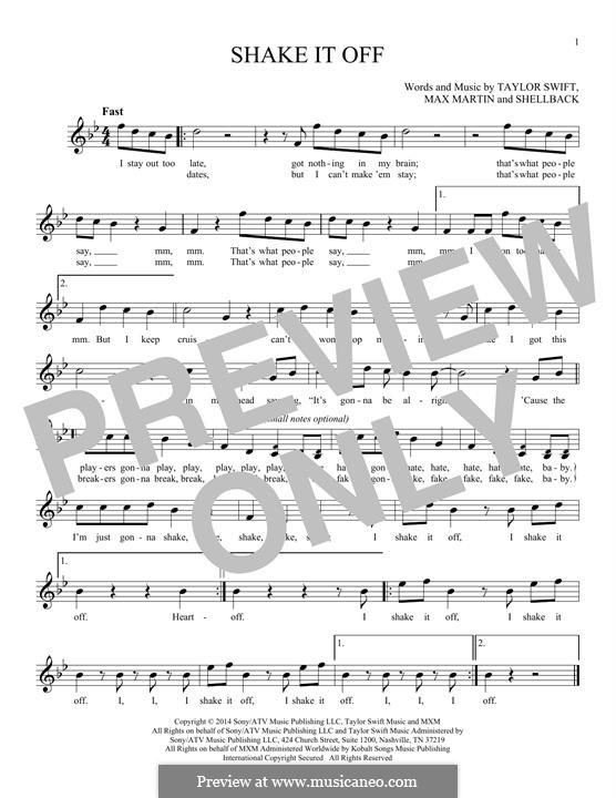 Shake it Off: Melody line by Shellback, Max Martin, Taylor Swift