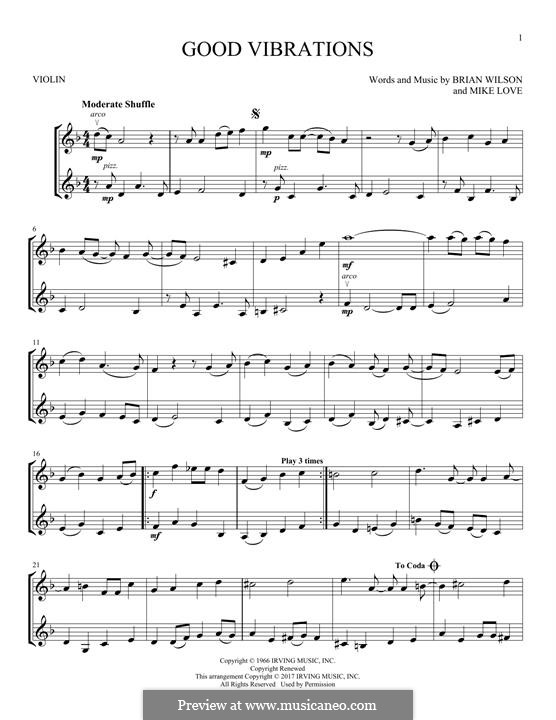 Good Vibrations (The Beach Boys): For two violins by Brian Wilson, Mike Love