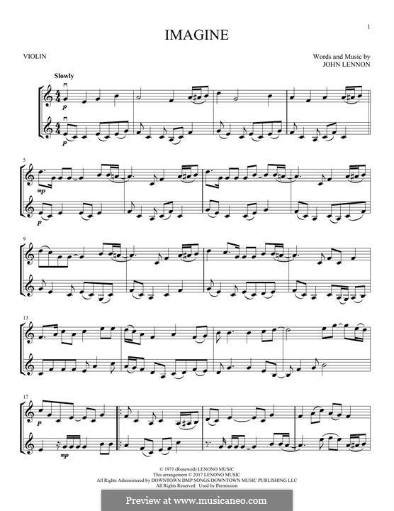Imagine: For two violins by John Lennon