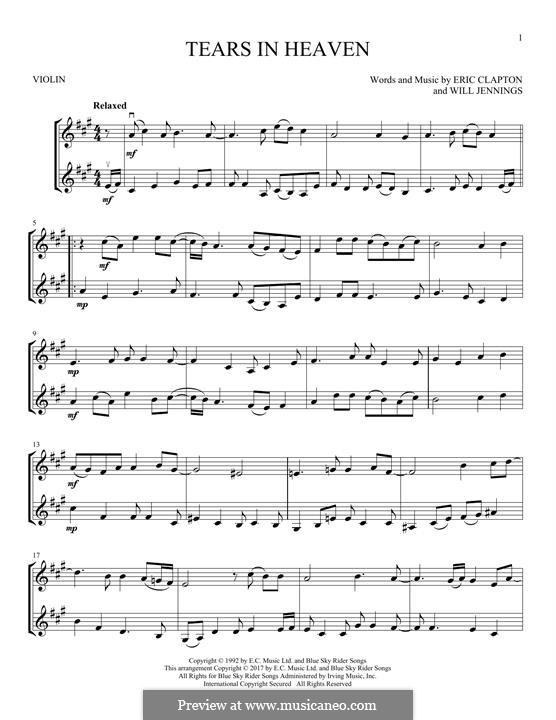 Tears in Heaven: For two violins by Eric Clapton, Will Jennings