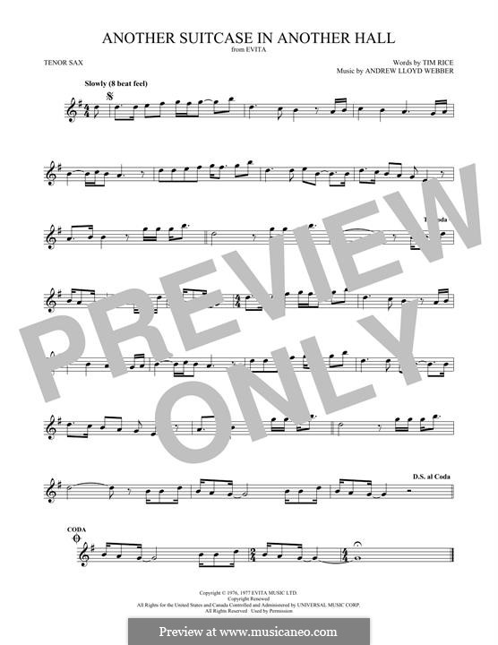 Another Suitcase in Another Hall: For tenor saxophone by Andrew Lloyd Webber