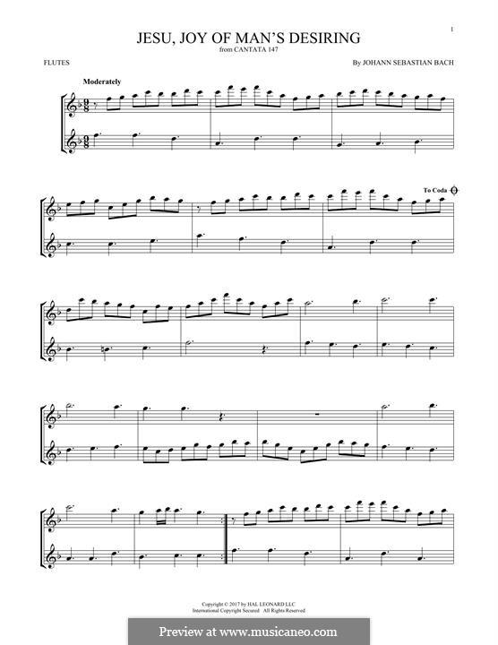 Jesu, Joy of Man's Desiring: For two flutes by Johann Sebastian Bach