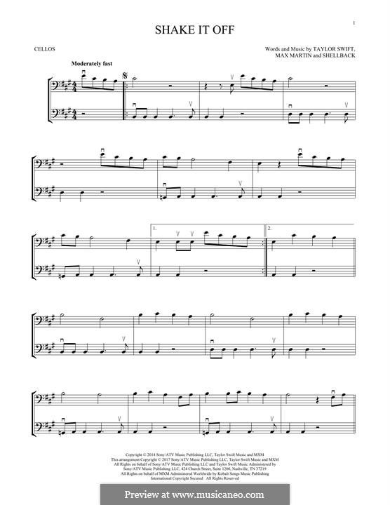 Shake it Off: For two violins by Shellback, Max Martin, Taylor Swift
