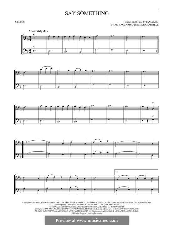 Say Something (A Great Big World): For two violins by Ian Axel, Chad Vaccarino