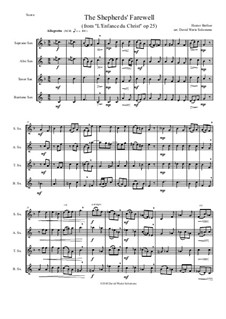 L'enfance du Christ (The Childhood of Christ), H.130 Op.25: The Shepherds' Farewell, for saxophone quartet by Hector Berlioz