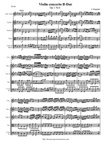 12 Concerti a cinque, Op.1: Concerto No.6 in B-Dur - score and parts by Carlo Tessarini