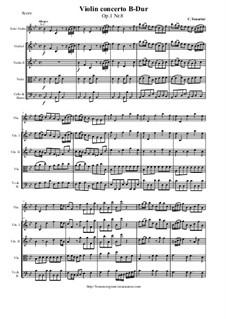 12 Concerti a cinque, Op.1: Concerto No.8 in B-Dur - score and parts by Carlo Tessarini