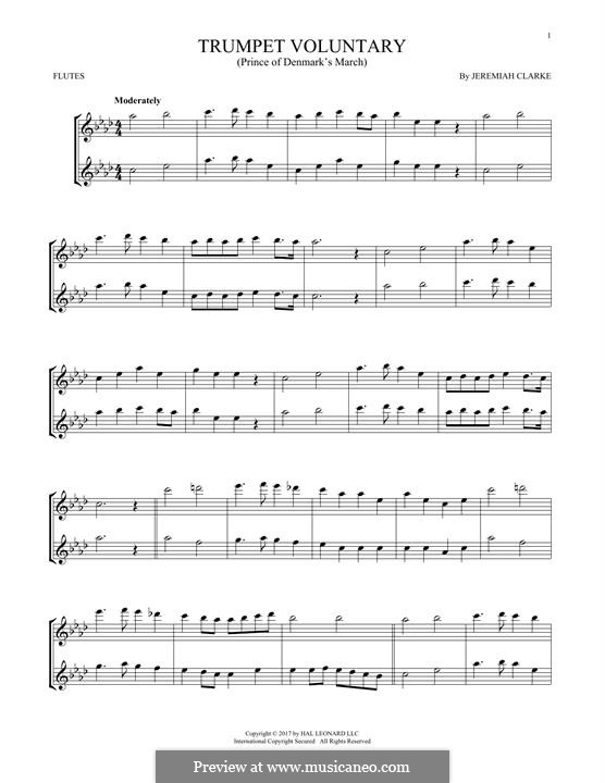 Prince of Denmark's March (Trumpet Voluntary), printable scores: For two flutes by Jeremiah Clarke