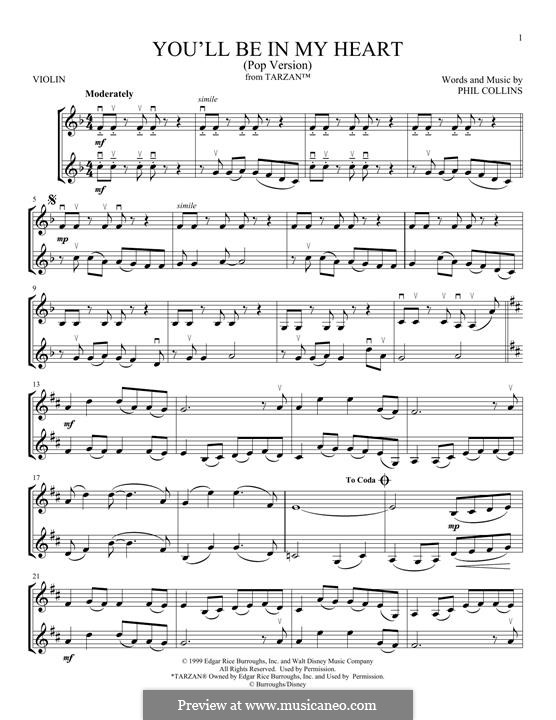 You'll Be in My Heart (from Walt Disney's Tarzan): For two violins by Phil Collins
