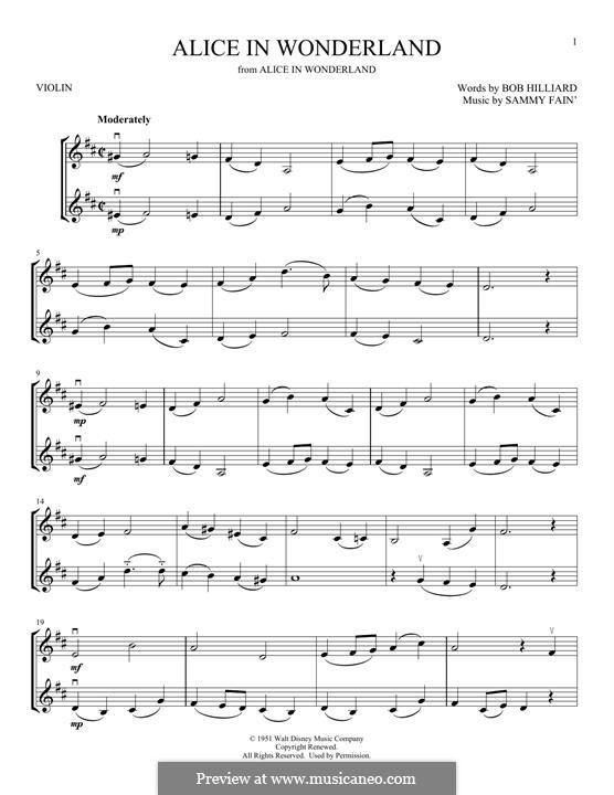 Alice in Wonderland (Bill Evans): For two violins by Bob Hilliard, Sammy Fain