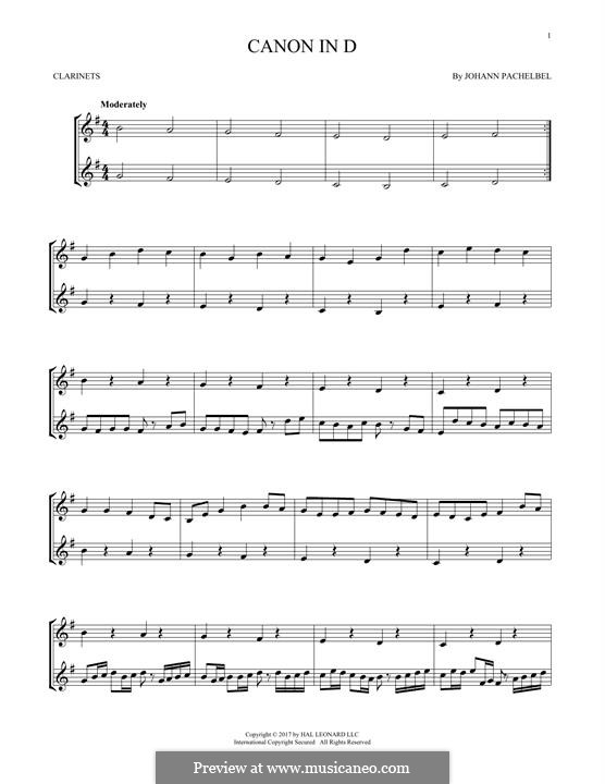 Canon in D Major (Printable): For two clarinets by Johann Pachelbel