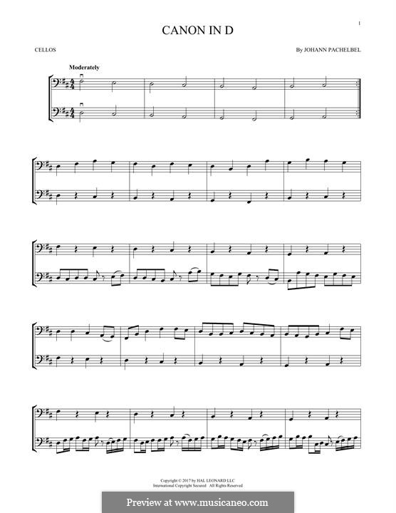 Canon in D Major (Printable): For two violins by Johann Pachelbel