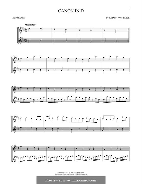 Canon in D Major (Printable): For two alto saxophones by Johann Pachelbel