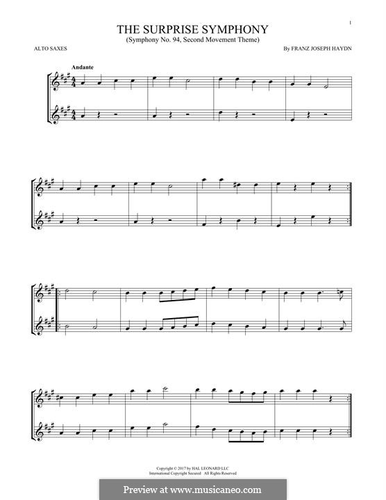 Movement II: Theme, for two alto saxophones by Joseph Haydn