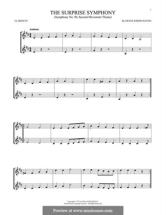 Movement II: Theme, for two clarinets by Joseph Haydn