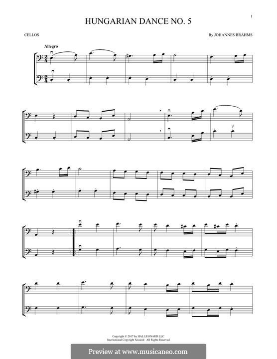 Dance No.5 in F Sharp Minor (Printable scores): For two violins by Johannes Brahms