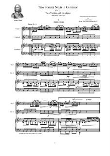 Six Sonatas for Violin Solo, Two Violins and Cembalo (or Piano), Op.5: Sonata No.6 in G minor, RV 72 by Antonio Vivaldi