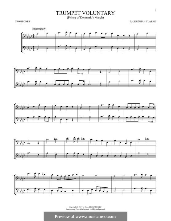 Prince of Denmark's March (Trumpet Voluntary), printable scores: For two trombones by Jeremiah Clarke