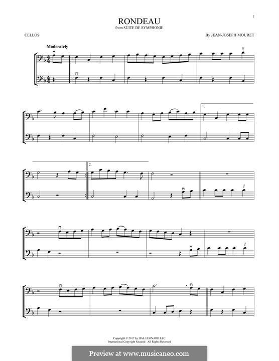 Fanfare Rondeau: Theme, for two violins by Jean-Joseph Mouret