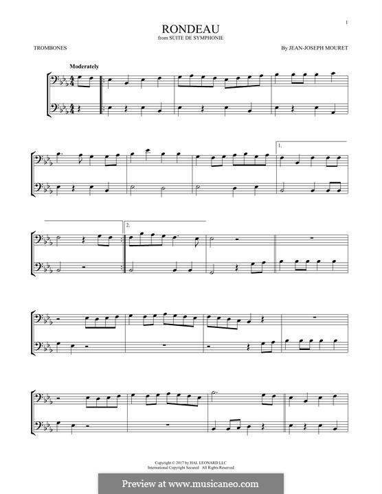 Fanfare Rondeau: Theme, for two trombones by Jean-Joseph Mouret