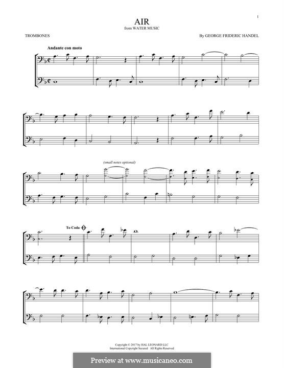Suite No.1 in F Major, HWV 348: Aria, for two trombones by Georg Friedrich Händel