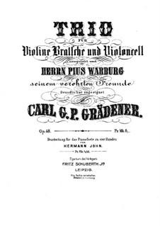 String Trio in G Minor, Op.48: Full score by Carl Georg Peter Grädener