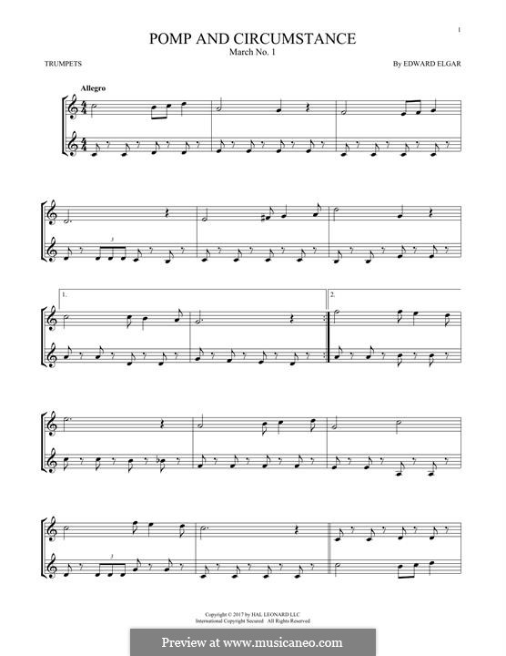 March No.1: Trio, for two trumpets by Edward Elgar