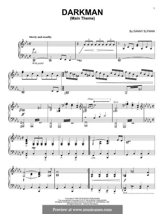 Darkman: For piano by Danny Elfman
