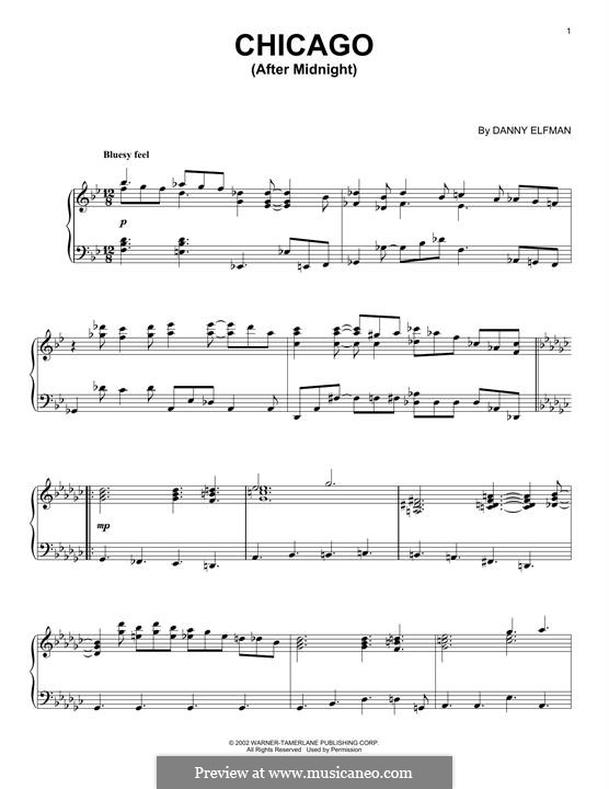 Chicago (After Midnight): For piano by Danny Elfman