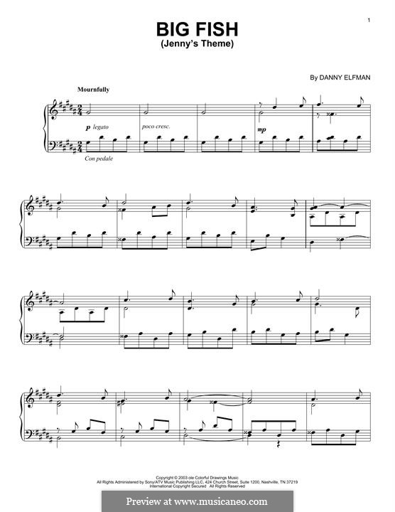 Big Fish: Jenny's Theme, for piano by Danny Elfman