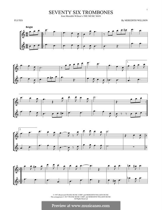 Seventy Six Trombones: For two flutes by Meredith Willson