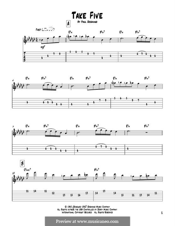 Take Five (Dave Brubeck): For guitar with tab by Paul Desmond