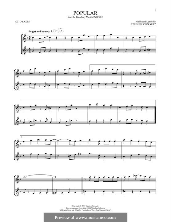Popular (from Wicked): For two alto saxophones by Stephen Schwartz
