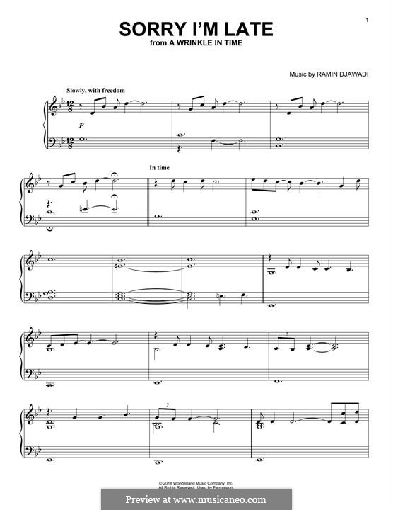 Sorry I'm Late (from A Wrinkle in Time): For piano by Ramin Djawadi