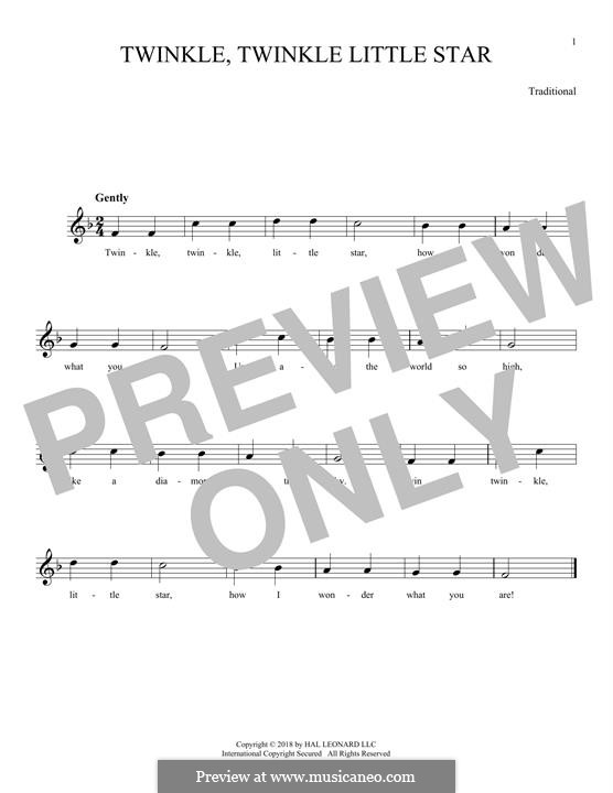 Twinkle, Twinkle Little Star: Melody line by folklore