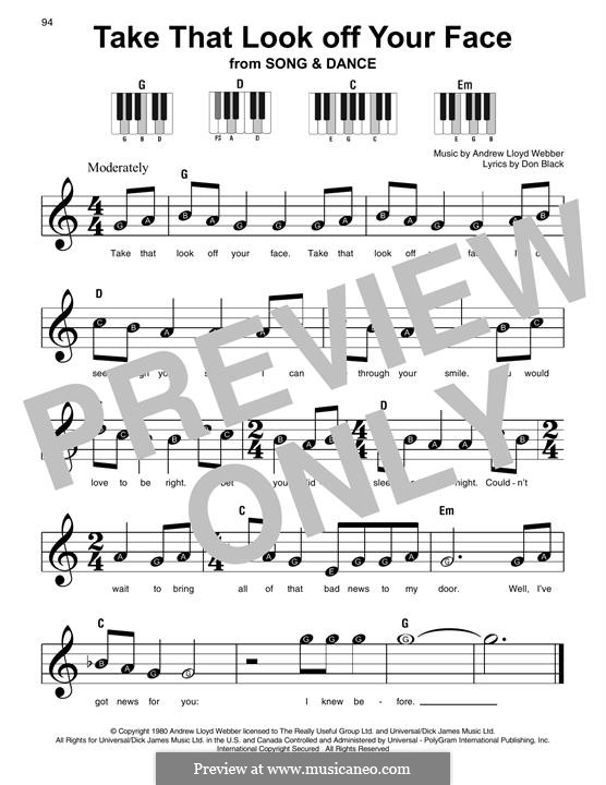 Take That Look Off Your Face: For easy piano with lyrics by Andrew Lloyd Webber
