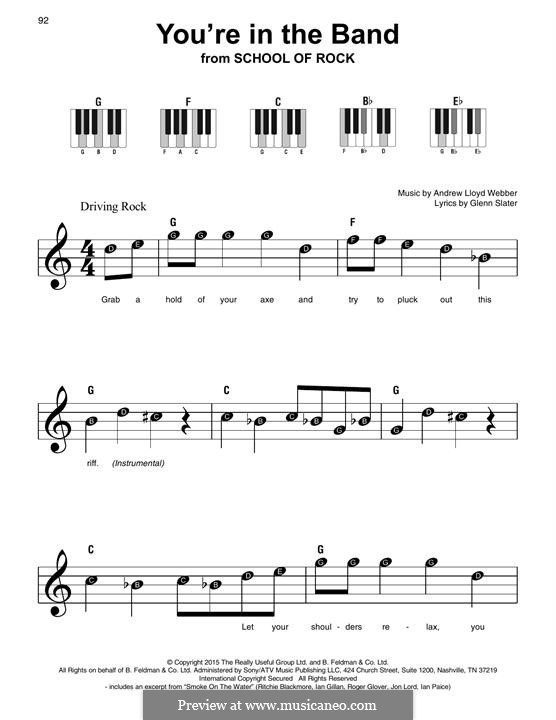 You're in the Band: For easy piano with lyrics by Andrew Lloyd Webber