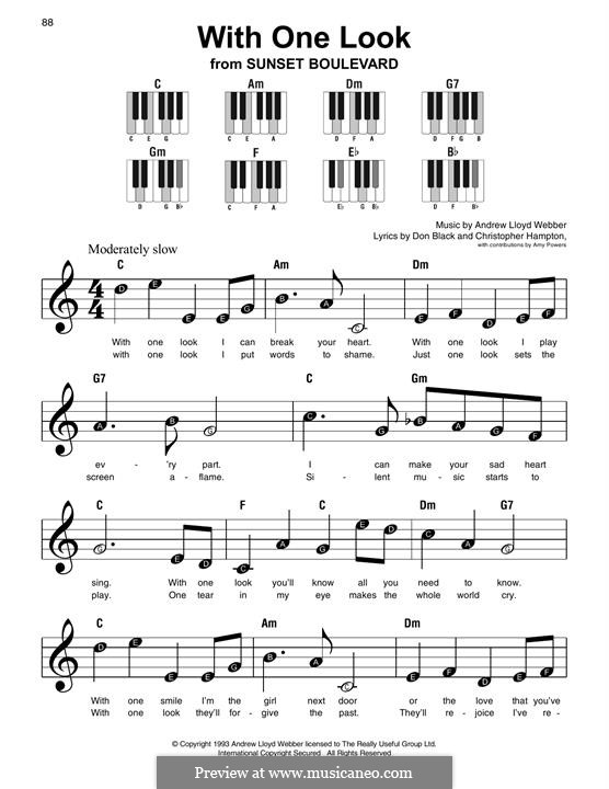 With One Look: For easy piano with lyrics by Andrew Lloyd Webber