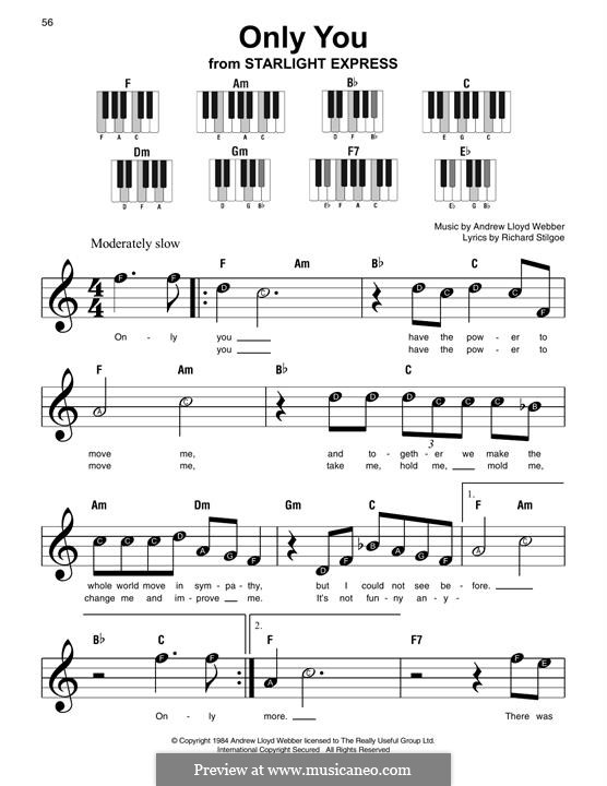 Only You (Fragment): For easy piano with lyrics by Andrew Lloyd Webber