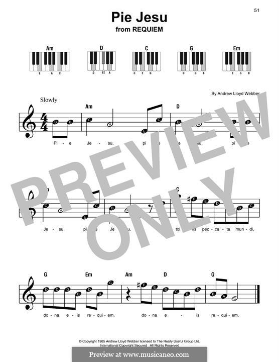 Pie Jesu (from Requiem): For easy piano with lyrics by Andrew Lloyd Webber