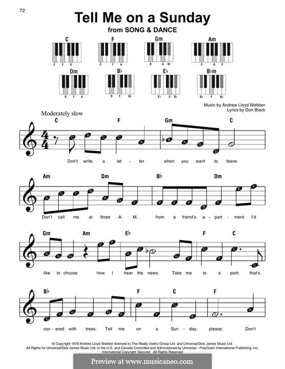 Tell Me on a Sunday: For easy piano with lyrics by Andrew Lloyd Webber